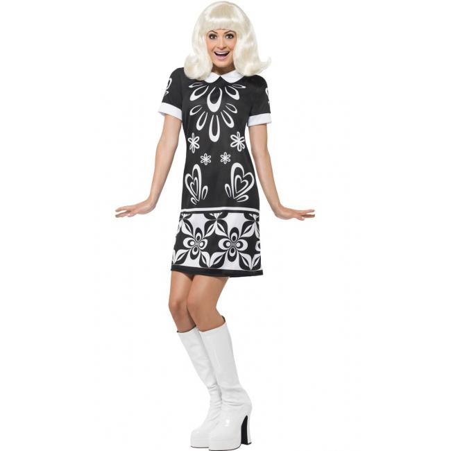 Zwart met wit monochroom Sixties jurkje