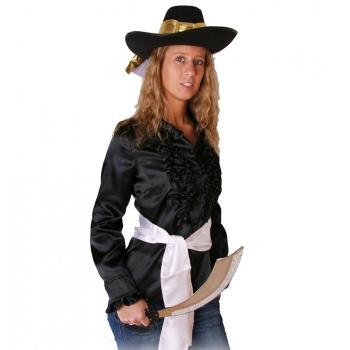 Zwart piraten dames overhemd met ruches