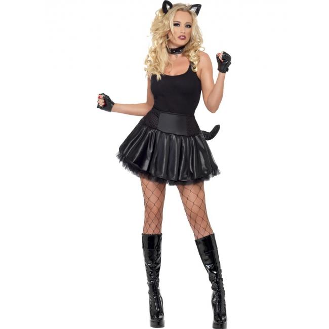 Zwart poezen jurkje voor dames