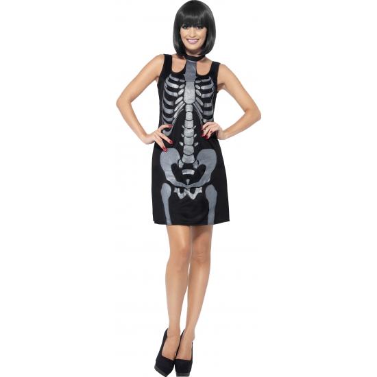 Zwart skelet jurkje met glitters