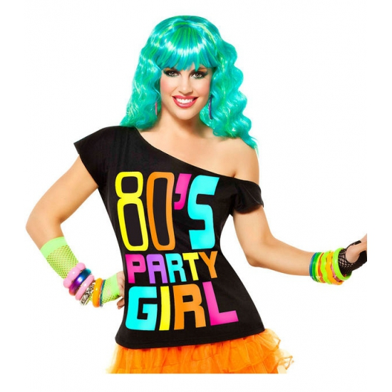 Zwart t shirt 80s party girl