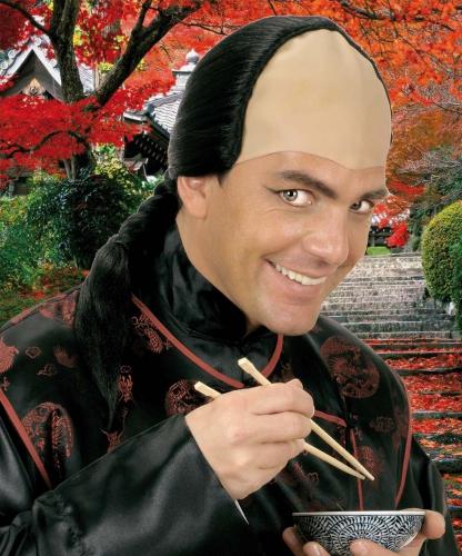 Zwarte Chinese pruik met vlecht