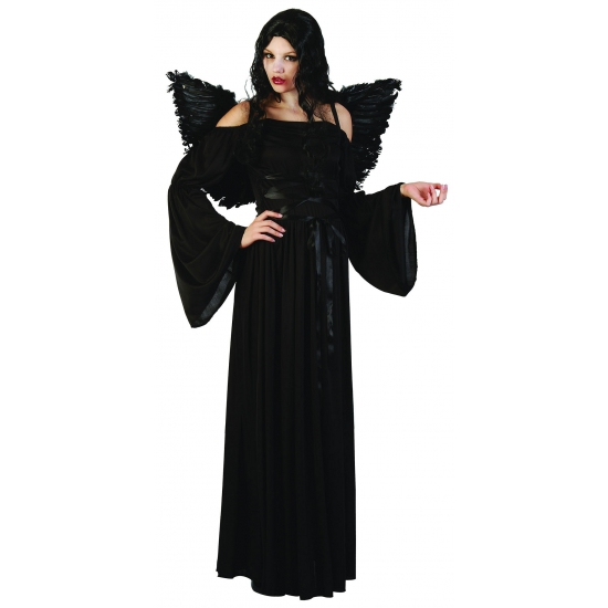 Zwarte gothic jurk met vleugels