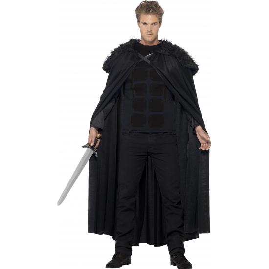 Zwarte lange cape met pluche