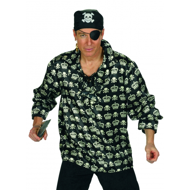 Zwarte piraten blouse met doodskoppen