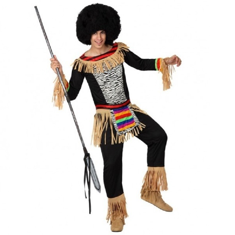 Zwarte zulu outfit met franjes