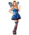 Blauw vlinder kostuum voor dames