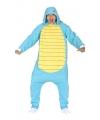 Blauwe cartoon schildpad onesie voor volwassenen