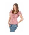 Cowboy blouse met plofmouwtjes dames rood wit