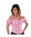 Cowboy blouse off shoulder dames roze ruit