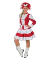 Dansmarieke kostuum rood met wit