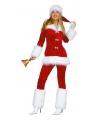 Fluwelen kerstvrouw kostuum
