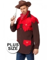 Grote maten cowboy verkleed shirt voor heren