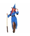 Halloween blauwe heksen kostuum voor dames