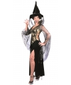 Halloween complete heksen jurk zwart goud