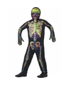 Halloween glow in the dark kinderen kostuum gekleurde skelet