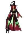 Halloween heksen kostuum groen rood vrouwen