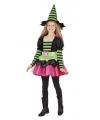 Halloween heksen kostuum groen roze voor meisjes