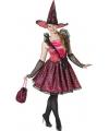 Halloween heksen kostuum roze voor dames
