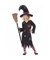 Halloween heksen verkleedkleding rosa voor meisjes