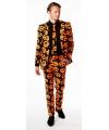 Halloween heren kostuum met pompoen print