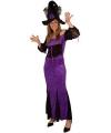 Halloween lange heksenjurk paars voor dames