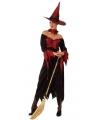 Halloween lange heksenjurk rood met zwart