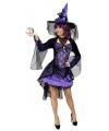 Halloween paarse heksenjurk voor dames