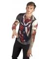 Halloween shirt met zombie opdruk heren
