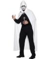 Halloween witte lange cape met capuchon