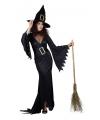 Halloween zwarte lange heksen jurk
