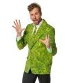 Heren kostuum gras colbert en stropdas