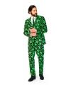 Heren kostuum met cannabis print