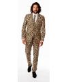 Heren kostuum met luipaard print