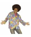 Hippie verkleed overhemd paars blauw voor heren