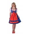 Luxe blauwe dirndl jurk met rood schort