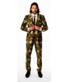 Luxe heren pak met camouflage print