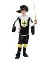 Musketier kinder kostuum zwart goud