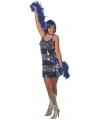 Pailletten jurkje blauw met zilver