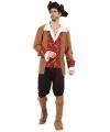 Piraten heren kostuum bruin rood