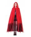 Rood zwarte ombre cape met capuchon