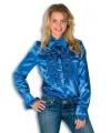 Rouche overhemd blauw voor dames