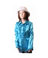 Rouches blouse blauw voor meisjes