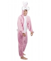 Roze konijn haas kostuum voor heren