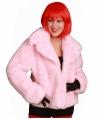 Roze korte bontjas voor dames