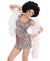 Seventies disco diva jurkje zilver
