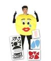 Smiley kostuum met stickers voor volwassenen