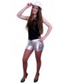 Strakke hotpants metallic zilver
