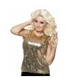 Toppers dames kleding top goud met pailletten