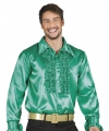 Toppers voordelige groene rouche blouse